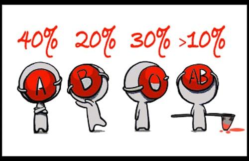 Số lượng người và nhóm máu tại Nhật
