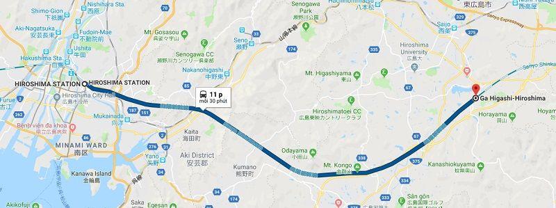 Tàu cao tốc Shinkansen từ ga Hiroshima đến gaHigashi-Hiroshima