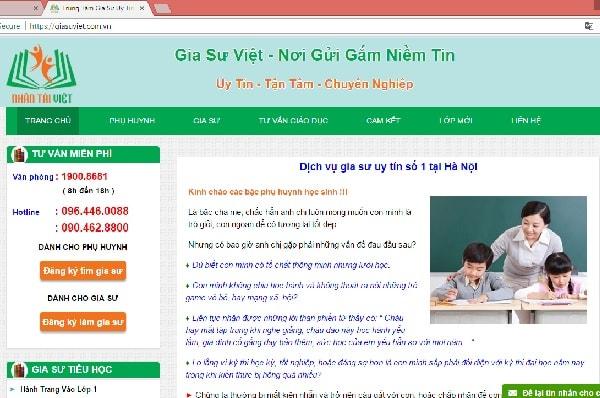 Website của một trung tâm gia sư uy tín