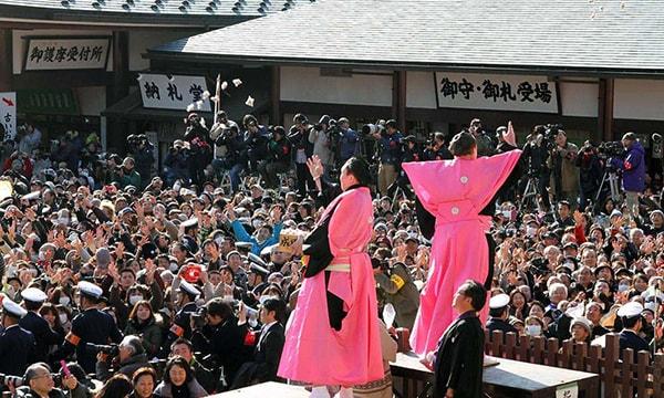Quang cảnh lễ hội Setsubun tại 1 ngôi chùa ở Nhật