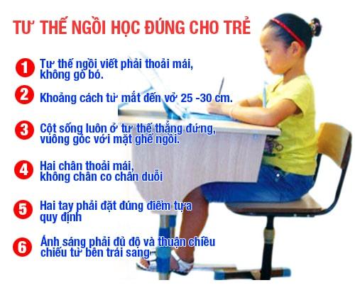 Tư thế ngồi chuẩn để trẻ học bài, viết chữ
