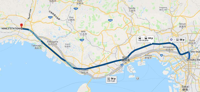 Đường đi tàu tốc hànhShinkansen từ Osaka tớiHimeji