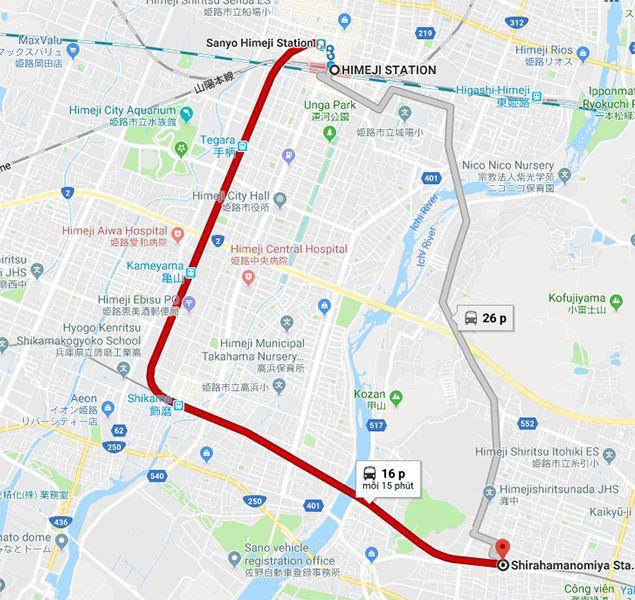 Từ nhà ga Himeji đến đền Shirahamanomiya