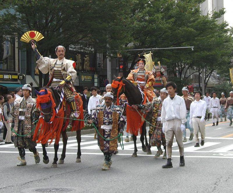 Các diễn viên đóng vai 3 vị lãnh chúa trong lễ hội