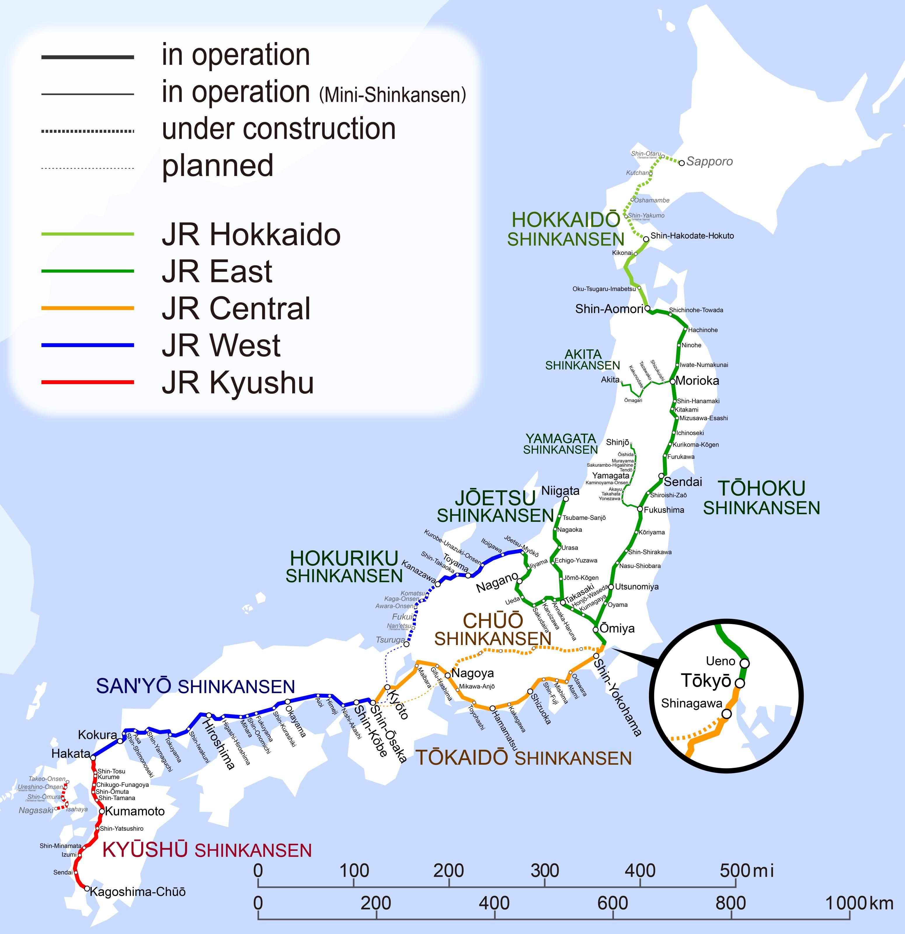 Các ga của tàu cao tốc Shinkansen Nhật Bản