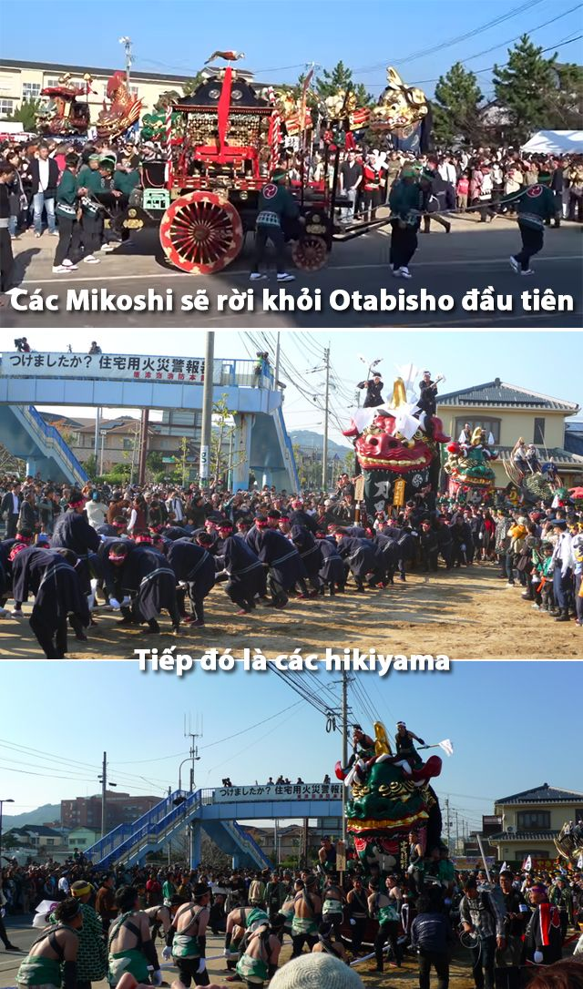 Các Mikoshi và Hikiyama rời khỏi Otabisho