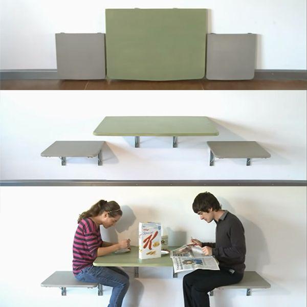 Tiết kiệm không gian với kiểu bàn ghế gắn tường