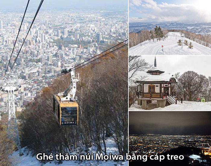 Lên núi Moiwa bằng cáp treo và cảnh đẹp được nhìn từ trên đỉnh núi