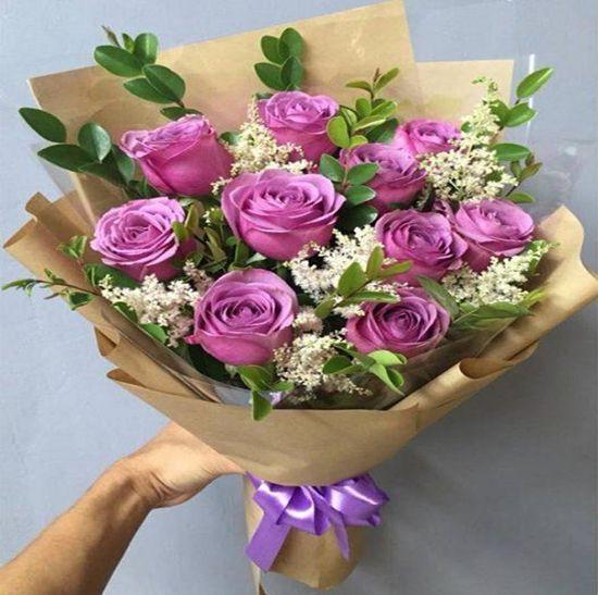 Bó hoa hồng tím dành tặng sinh nhật tại shop MR Hoa