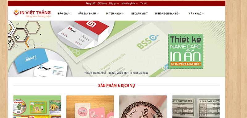 Website công ty Cổ phần In Việt Thắng